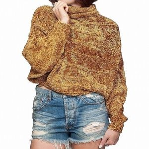 Free People NWT Gold Chenille Knit Sweater